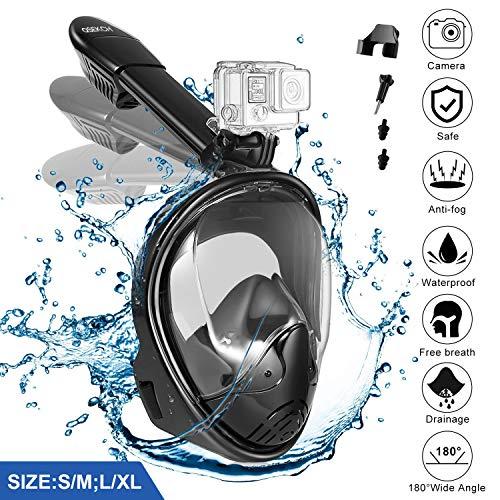 QSEKCH 2018 Máscara de Buceo, 180 ° Panorámica Máscara Snorkel Máscara para Buceo Anti-vaho Anti-Fuga Esnórquel Gear con Tapones para los oídos Impermeables/GoPro Mount Easy Breathe para Adultos( S/M