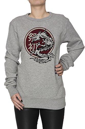 Drago Donna Grigio Felpa Felpe Maglione Pullover Grey Women's Sweatshirt Pullover Jumper