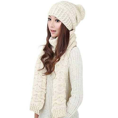 Minetom Damen Winter Strickschal Und Mütze Set Verdicken Kippa Solid Color (Weiß) (Fedora-hut Angora)