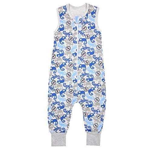 TupTam Unisex Babyschlafsack mit Beinen Unwattiert, Farbe: Chamäleons/Blau, Größe: 80-86