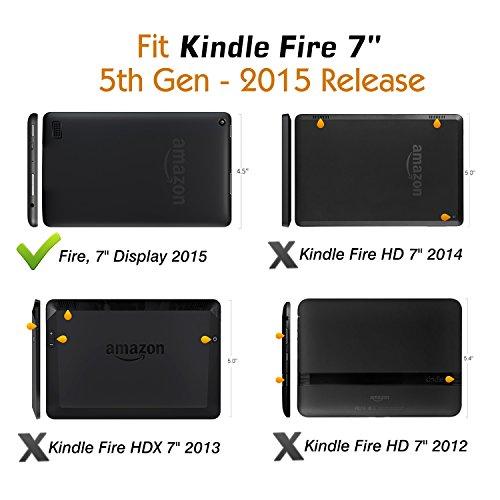 MoKo Housse Fire 7 2015 - Etui Fin avec Support Multi-Angles pour Tablette Amazon Fire 7 Pouces (5ème Génération,Modèle 2015) Seulement, Carbon Fiber BLEU CLAIR A-Noir