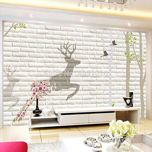 ZAMLE Fototapeten 3D Stereoscopic White Brick Muli Abstrakte Moderne Wohnzimmer Schlafzimmer Wandbild Wand Paper-250x175_cm_ (98.4_por_68.9_in)
