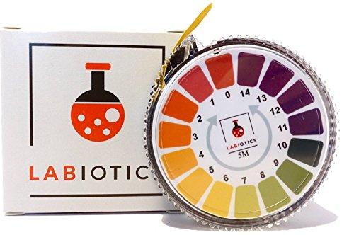 LABIOTICS Indikatorpapier für schnelle pH-Wert-Messungen (pH 0-14) - 5 Meter lange pH Papier Rolle - Ergibt bis zu 250 pH Teststreifen für Wasser, Urin, Speichel & Co. (1)