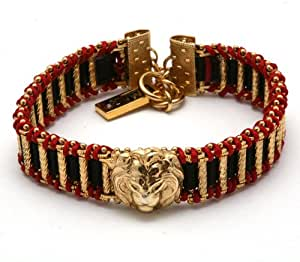 Men's Bracelet from 'Royal' Collection by Israeli Amaro Jewelry Studio Set with Lion Head Ornament, Black and Red Braid; 24K Yellow Gold Plated