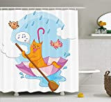 MSGDF Kitten Shower Curtain, Cute Cat Under The Umbrella Sail in The Clouds and Humor Cartoon Kids Nursery Theme, Fabric Bathroom Decor Set with Hooks, 60 X 72inch, Multicolor