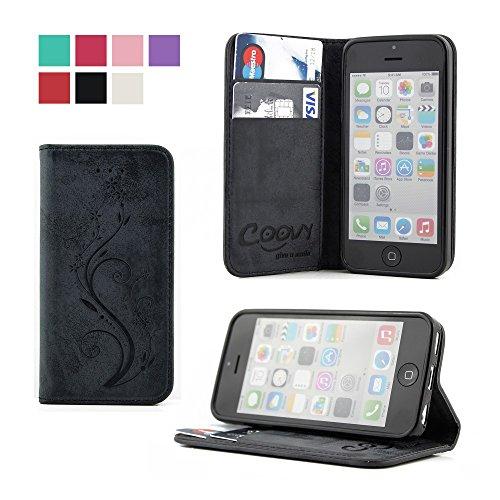 COOVY® Cover für Apple iPhone 5c Case Wallet Schutz Etui mit Kartenfach, Standfunktion + Schutzfolie - Design Blume | Farbe schwarz (Case Wallet 5c)