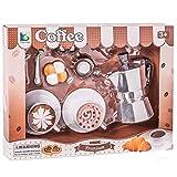 Bakaji Toys Set caffè Giocattolo Bambini con Caffettiera Tazzine Cucchiaini e Biscotti per 2 Persone