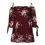 VEMOW Sommer Elegante Damen Mädchen Frauen Plus Größe Blumendruck Slash Neck Kalte Schulter Hailf Sleeve Bluse Casual Tops Camis Pullover Tees (Weinrot, EU-48/CN-3XL)