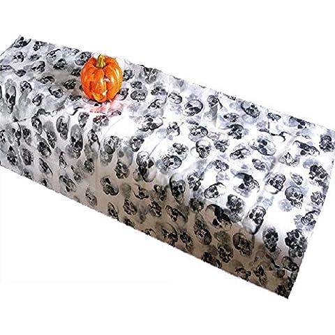 Tovaglia per Halloween in stoffa con teschi. TESCHIO TOVAGLIE STOFFE MOSTRI