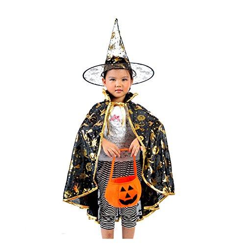 GOKOMO Halloween kostüm Damen hexenhut Damen schwarz + kürbis Tasche + Halloween-Umhang