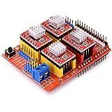 Quimat CNC Arduino Kit para Impresora 3D , CNC Shield V3.0 + UNO R3 + 4 PCS A4988 Controlador + Nema 17 Motor Paso a Paso, GRBL Compatible