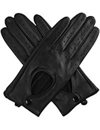Jasmine Silk Ladies' Luxury Genuine Lambskin Leather driving Gloves BLACK