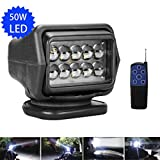 LED Rotating Remote Control Search Light 50W 12-24V 360º Cree Working Light Emergency Lighting Construction Lighting For Boat Offroad Car SUV Camping Garden