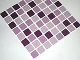 Tile-makeover - Confezione da 10 adesivi a mosaico per piastrelle da bagno, colore: Lilla e prugna Per cambiare rapidamente l'aspetto del bagno o il rivestimento della cucina, autoadesivo, rapido, nessun caos eseguendo il lavoro