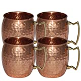 Copper Hammered Moscow Mule Mug 16 Ounce - Set of 4 Pure Copper