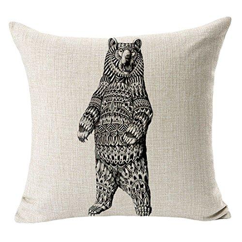 danspeed Simple elefante búho animales decoración del hogar Cojín Funda de almohada de color negro y blanco