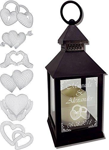 Udig.de Mini Laterne mit LED Kerze schwarz Mod. 3 mit Text und 3D Motiv-Gravur 24x10x10 cm mit Timerfunktion - Hochzeitslaterne