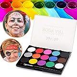 Janolia Gesichtsfarbe, Sicher Ungiftig Kinderschminke Set mit 15 Farben, Professionelle Palette mit Bürste, Waschbar