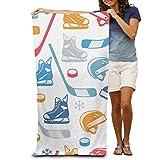 lilihome Bath Towel Ice Hockey Elements Creative Patterned Soft Beach Towel 31