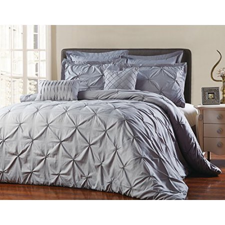 Unique Home 8 Stück Maison Pinch Falte quatrfoil Print Wende Bett in Einem Beutel Tröster Set King Grau California King Grau -