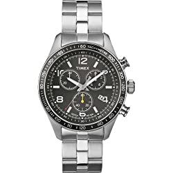 Timex-T2P041-Kaleidoscope Men's Watch Quartz Chronograph Black Dial Steel Strap Grey