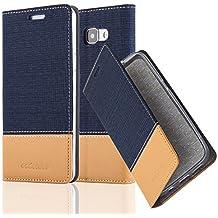 Cadorabo - Etui Housse pour Samsung Galaxy A5 (6) (Modèle 2016) - Coque Case Cover Bumper Portefeuille en Design Tissue-Similicuir avec Stand Horizontale, Fentes pour Cartes et Fermeture Magnétique Invisible en BLEU-FONCÉ-MARRON