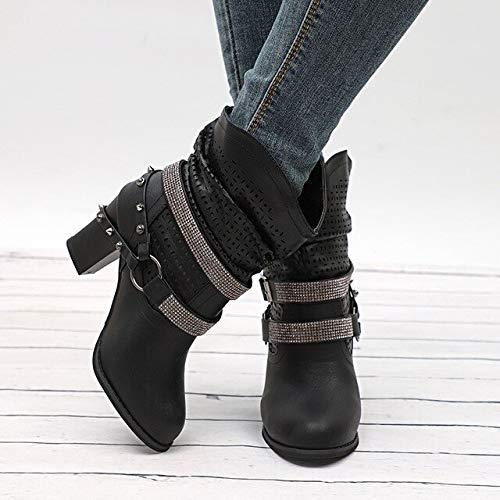 PIAOLDXZ Stivali Stivali da Donna Autunno Tacchi Alti Scarpe Rivetto Femminile Calzature con Fibbia Stivali Corti Stivaletti in Pelle Pu
