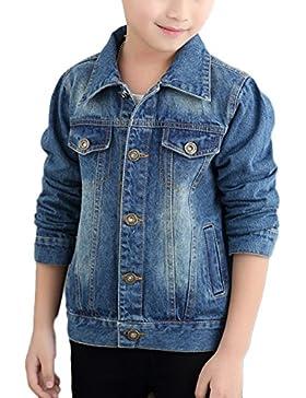 Giacca Di Jeans Bambina Ragazzi Ragazza Denim Giacche Cowboy Cappotti Giubbotto Outerwear Cappotto Blu 140CM