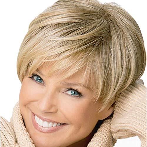 AMUSTER Neu Perücke Haar Wigs Weiblich Blond leicht Gewellt Kurz für Karneval Cosplay Elegante Bob Perücke für Frauen