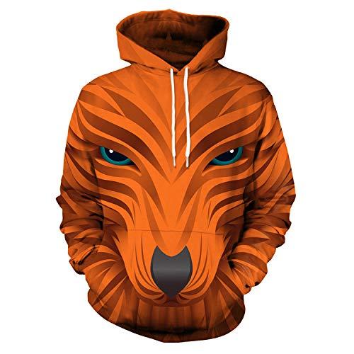 2019 Herbst Mode Langarm Lose Hoodie, 3D Kreative Abstrakte Elefanten Sweatshirt, Animal Print Wolf Kopf Pullover Jumper,2,XXL (2019 Die Erwachsene Kreative Ideen, Für Halloween-kostüm)