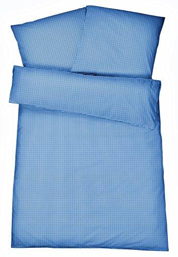 Carpe Sonno Bügelfreie Seersucker Bettwäsche 135 x 200 cm - Leichte Karierte Baumwoll Bettbezüge für den Sommer - Moderne karo Bettwaren-Garnitur - Blau
