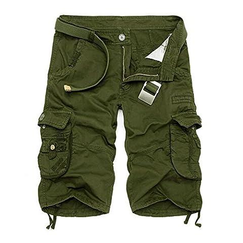Mens Cargo Shorts twill shorts-Army green-32