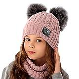 AJS Mädchen Winterset Kindermütze Mütze Wintermütze Zwei Bommelmütze Rundschal Loopschal mit Wolle ab 4 Jahre bis 7 Jahre Farbe Puderrosa