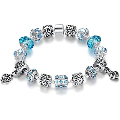 Wostu, Pulsera de plata del cristal plateado azul para la Mujer