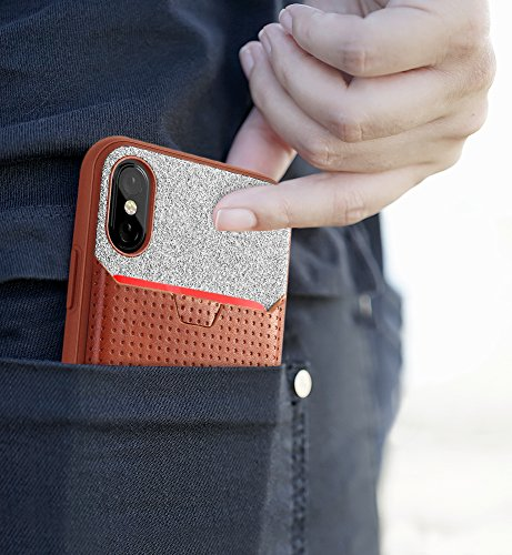 Coque Noire Nubuck de Poetic pour iPhone X avec Étui pour cartes de crédit [Pochette pour carte] Pochette pour Carte de Crédit [Avec Languette de Traction]- Elégant TPU Mince + Pochette en Cuir Marron