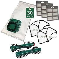 30 Staubsaugerbeutel Filtertüten Sparset mit Bürsten passend für Vorwerk Kobold 140 und 150 mit EB 360 oder 370