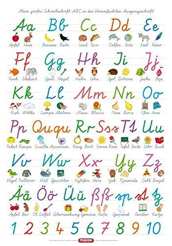 Fragenbär-Lernposter: Mein großes Schreibschrift-ABC in der Vereinfachten Ausgangsschrift (VA), L 70 x 100 cm (Lerne mehr mit Fragenbär) (Das Abc In Schreibschrift)