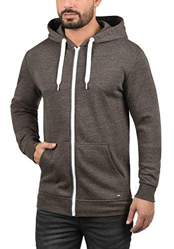 SOLID Olli Herren Sweatjacke Kapuzen-Jacke Zip-Hoodie aus hochwertiger Baumwollmischung, Größe:M, Farbe:Coffee Bean Melange (8973) - 2