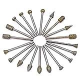 goxawee 20Diamant-Frässtifte Bohrer Bits Sets-Schleifstift Set mit 1/20,3cm (3mm) Schaft passt für Heimwerker Schleifen, Polieren, abrasiving