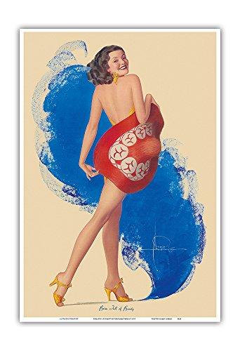 Pacifica Island Art Streich voller Schönheit - Vintage Retro Ackt-Pin-Up Kalender Seite von Rolf Armstrong c.1937 - Kunstdruck - 33cm x 48cm (Vintage Pin-up-kalender)