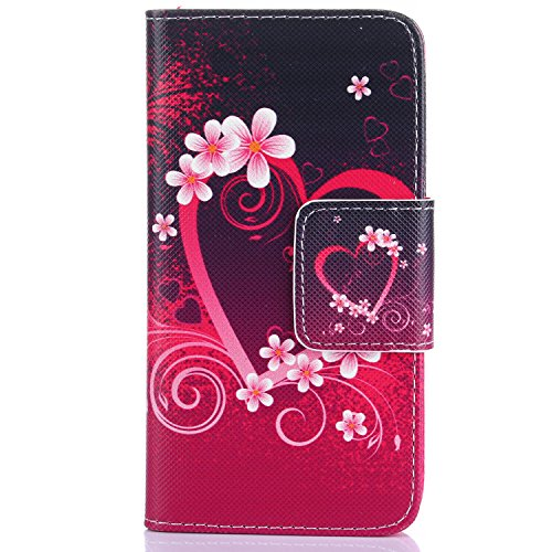iPhone 4S Hülle, iPhone 4 Hülle,ISAKEN iPhone 4S Hülle Case,Handy Case Cover Tasche for iPhone 4S / iPhone 4, Bunte Retro Muster Druck Flip PU Leder Tasche Case Hülle im Bookstyle mit Standfunktion Ka Blumen Herz der Liebe