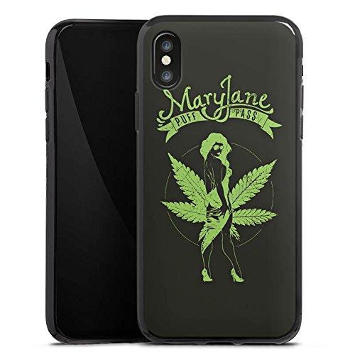 Apple iPhone X Silikon Hülle Case Schutzhülle MaryJane Marihuana Hanf Silikon Case schwarz