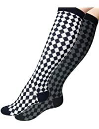 Loonysocks, 2 Pairs of Harlequin Knee High Cotton Rich Women/ Ladies & Girls Black, White & Grey Socks