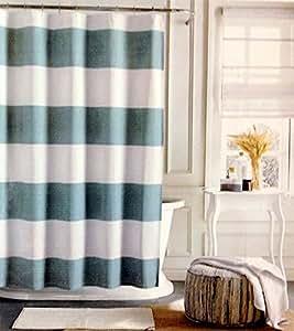 Tommy Hilfiger Large rideau de douche à rayures Bleu Aqua/blanc/doux 72 x 72
