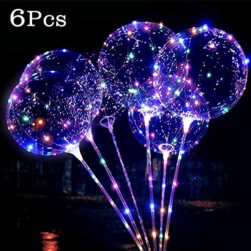 Etmury Globos LED Románticos con Luces Globos de Látex 18 Pulgadas con LED Muticolores, Innovadores Globos Transparentes de Decoración para Fiesta, Cumpleaños, Boda, Navidad, Carnaval - 6 Piezas