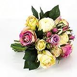 artplants - Künstlicher Rosenstrauß Große-Molly, 15 Rosen, 9 Knospen, Creme-Altrosa, 28 cm, Ø 25 cm - Deko Rosen/Kunstblumenstrauß