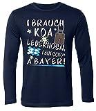 I brauch koa Lederhosen i Bin Scho a Bayer 4420 Oktoberfest Wiesn Bier Herren Longsleeve Langarm Fun-T-Shirts Navy L