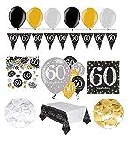 Feste Feiern Geburtstagsdeko Zum 60 Geburtstag | 31 Teile Luftballon Wimpel Blüten Konfetti Gold Schwarz Silber Party Deko Set Happy Birthday