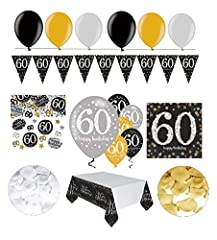Idea Regalo -  Decorazione per festa di compleanno 60 anni | 31pezzi, oro,nero e argento con palloncino | Decorazione per festa di compleanno 60 anni.