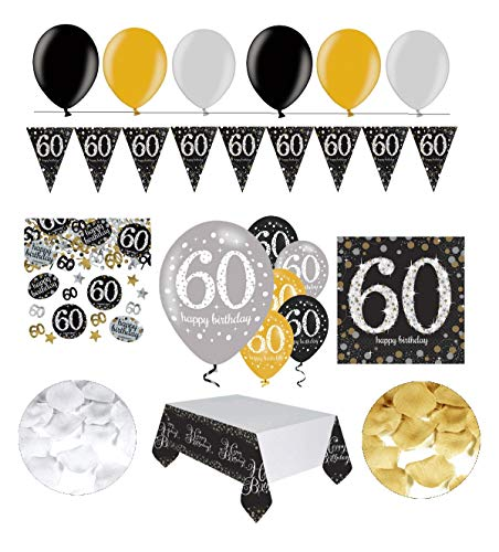 Feste Feiern Geburtstagsdeko 60. Geburtstag | 31 Teile Deko-Set Luftballon Wimpel Girlande Konfetti Serviette Tischdecke Gold Schwarz Silber metallic Party-Set